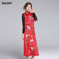 Midi Party Vintage Dresses Chinese Style High Quality Women Luxury Embroidery Sleevelesss Black Red Qipao Cheongsam