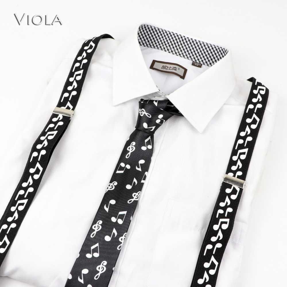 บุรุษสตรีเด็กเพลงเปียโนทหารพิมพ์ Suspenders Tie Bow Tie ชุด PARTY Play เสื้อวงเล็บผีเสื้อเข็มขัดกางเกงกางเกงยีนส์ของขวัญ