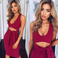 2017 nueva moda primavera verano elegante lápiz dress mujeres sexy club de partido del vendaje de bodycon dress rojo con cuello en v hollow out dress