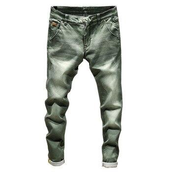 a205123a15 2019 nueva Boutique de moda elástico Casual para hombre Pantalones vaqueros  vaqueros Skinny hombre recto