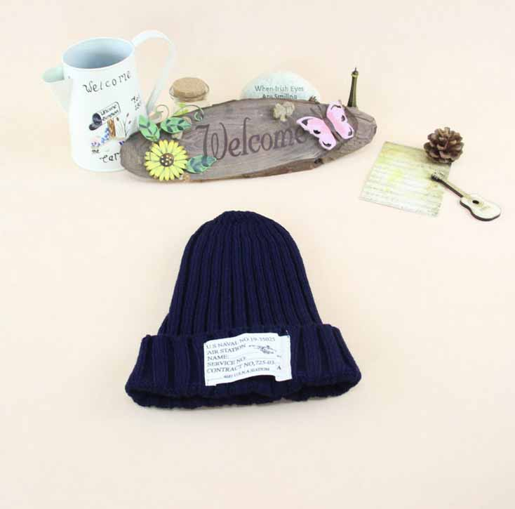 # Explosion models new Autumn And Winter letter paste cloth pattern all-match leisure wool knitted cap Thicken Warm cap women
