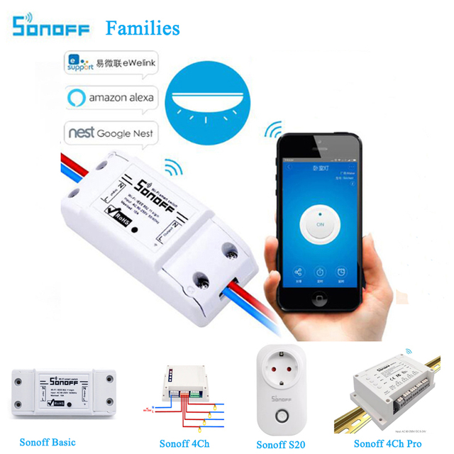 Interruptor Wifi básico Sonoff, módulo de automatización inteligente para el hogar, sonoff S20/RF 433/Touch/4ch PRO temporizador de Control remoto interruptor inalámbrico