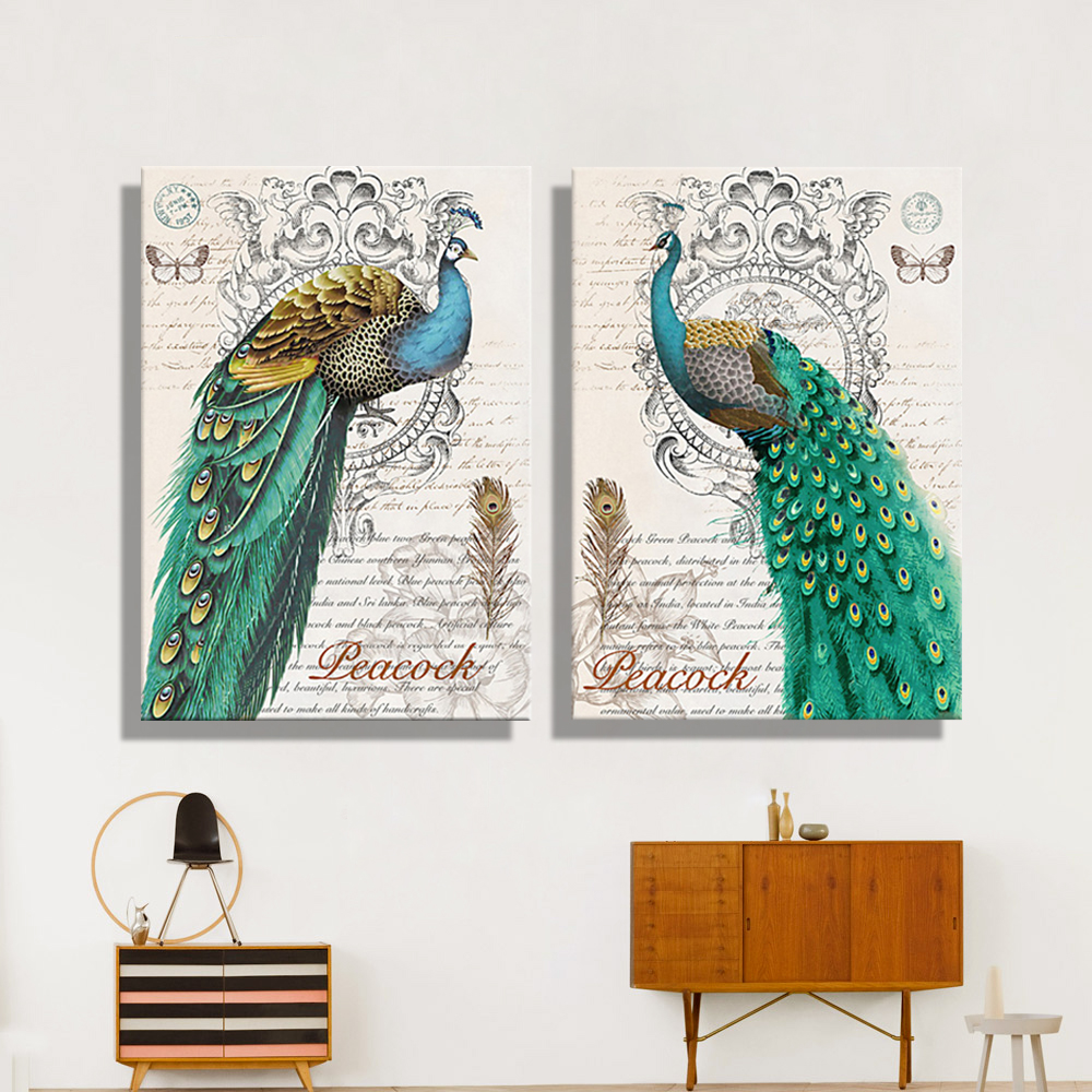 Oil Painting Canvas Abstract Green Peacock Wall Art ...