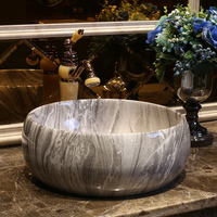 Bathroom ceramic counter top sink Round wash basin popular in europe art basin lavabo chinese wash basin LO613552