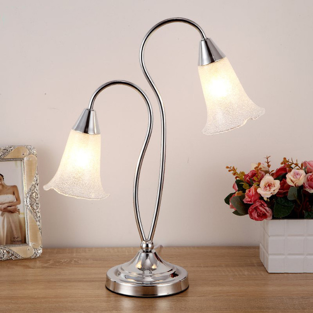 Modern Glass Shade Bedroom Table Lights Silver/Gold 2 Heads Study Room Desk  Lights Warm Coffee Sitting Room Table Lamp Fixtures