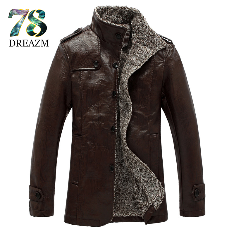Fashion winter PU Leather Jacket Men Faux Fur Coats Trend Slim Fit Motorcycle Suede Jacket Male Black grey Brown Solid Mens