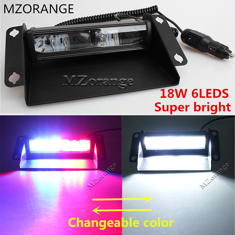 MZORANGE 6 LED Car Police Strobe Flash Light Red/Blue 12V- 24V Dash Emergency Flashing Light Warning Lamp White Amber changeable cyan soil bay car truck emergency strobe flash warning light 12v 9 led flashing police 9w lamp sucker red blue white amber