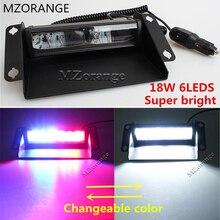 MZORANGE 6 LED Red/Blue 12V- 24V Car Police Strobe Flash Light Dash Emergency Flashing Light Warning Lamp White Amber changeable