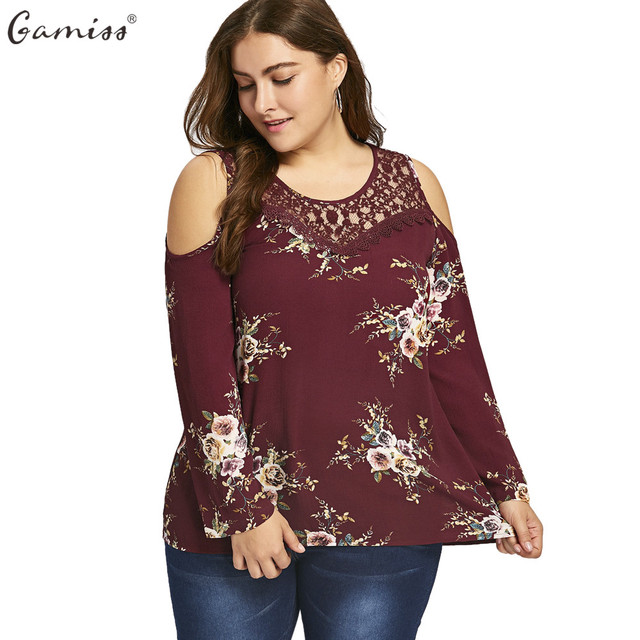 41d87718bc17 Gamiss Women Long Sleeves Shirts Autumn Plus Size Lace Panel Cold Shoulder  Floral Printed Blouses Hollow Out O Neck Female Tops