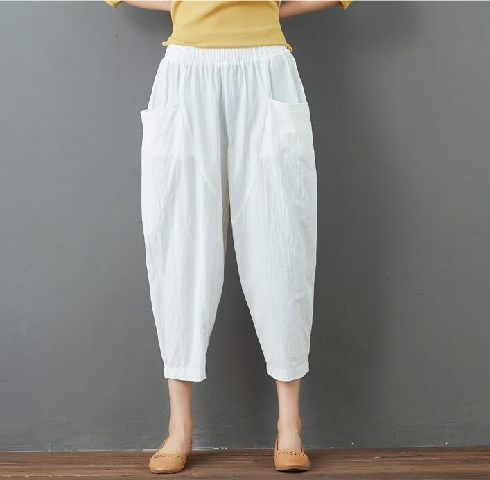 Summer Elastic Waist Cotton Linen Pocket Harem Pant Vintage Loose Mori Girl Oversized Home Tracksuit Plus Size Trouser Workout 37