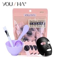 Yousha 34 шт./компл. DIY сжатого черная маска Уход за кожей лица маска Бумага бамбуковый уголь Волокно адсорбции Черноголовых Уход за кожей корейской косметики