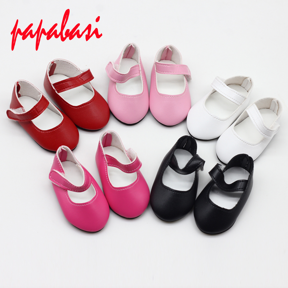 Cute 18 Inch Girl Doll PU Leather Shoes For 43cm Baby Doll Mini Shoes For Christmas Gift Free Shipping