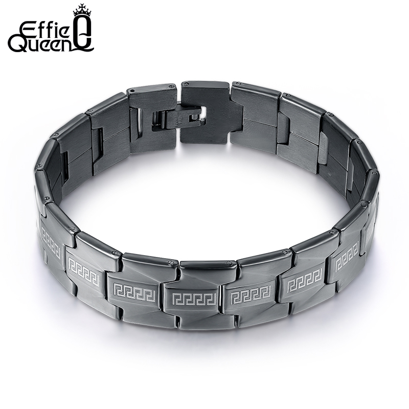 Effie Queen Promotion Black Chain Link Men's Bracelets High Quality Stainless Steel 16mm Width Bracelet Wholesale IB02