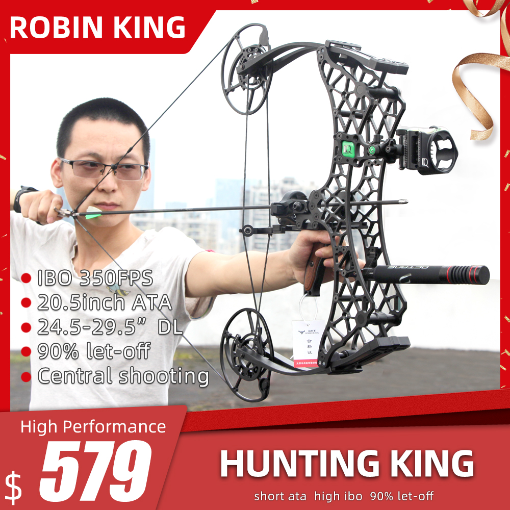 Robin King Short ATA Hunting Compound Bow with 350FPS and 90% Let-off Outdoor Camping and Hunting Tool