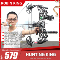 Robin King Short ATA Hunting Compound Bow with 350FPS and 90% Let off Outdoor Camping and Hunting Tool