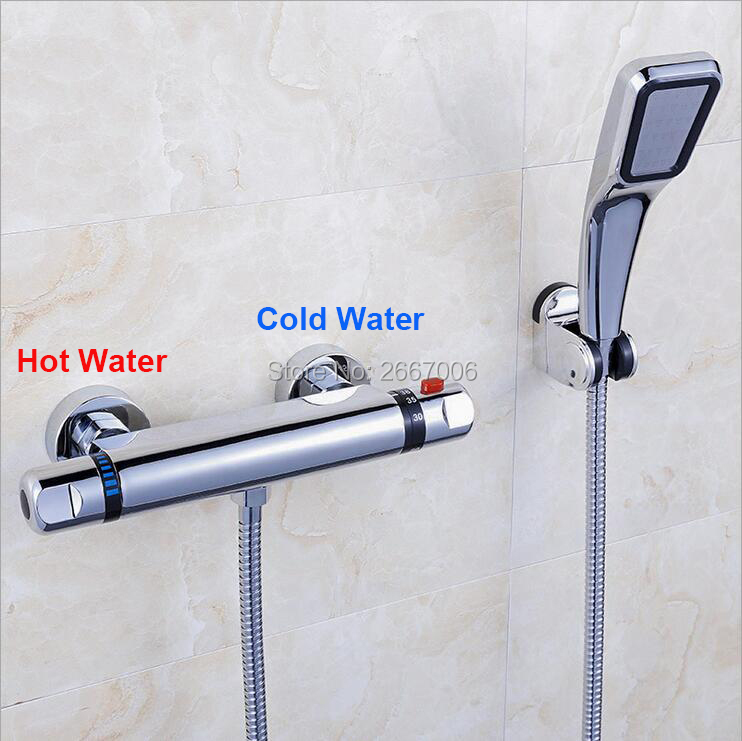 Free Shipping Luxury Brass Thermostatic Faucet Set Thermostatic Mixer Wall Mounted Shower Tap with hand shower GI938 chrome polished rainfall solid brass shower bath thermostatic shower faucet set mixer tap with double hand sprayer wall mounted