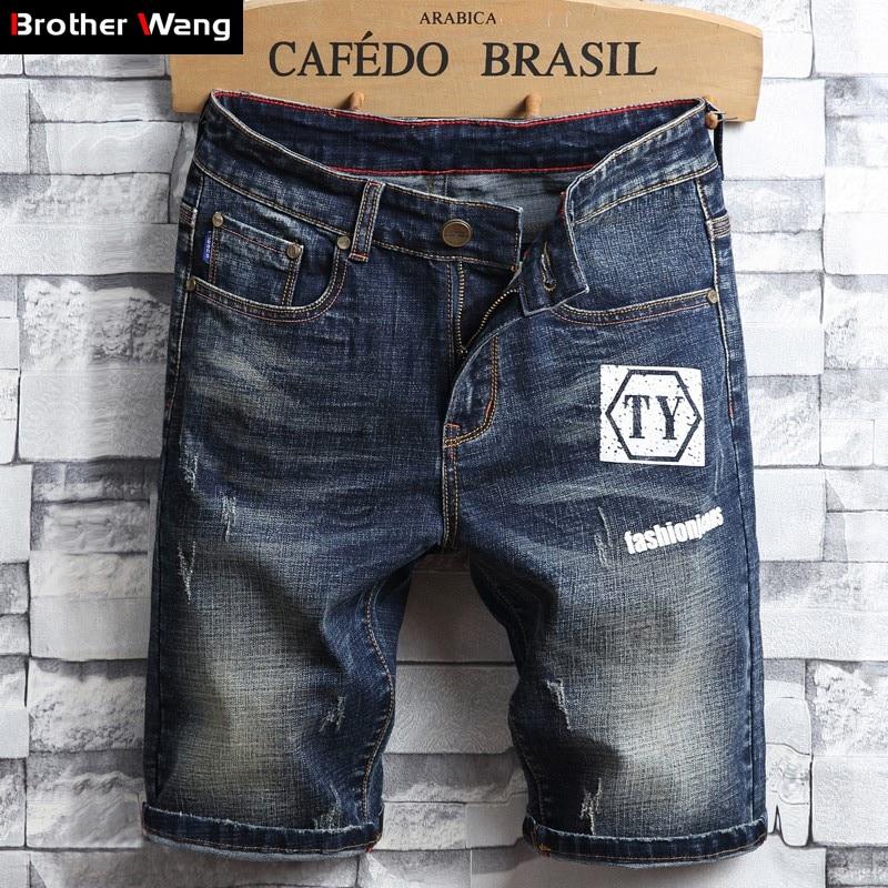 2019 Summer New Men's Jeans Shorts Fashion Casual Vintage Old Slim Fit Blue Denim Shorts Male Brand