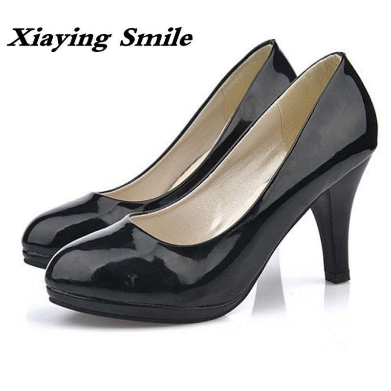 Xiaying Smile New Spring Autumn Women Pumps British Style Fashion Office Career Ladies Shoes Thin Heel Round Toe Shallow Pumps xiaying smile woman pumps shoes women spring autumn wedges heels british style classics round toe lace up thick sole women shoes