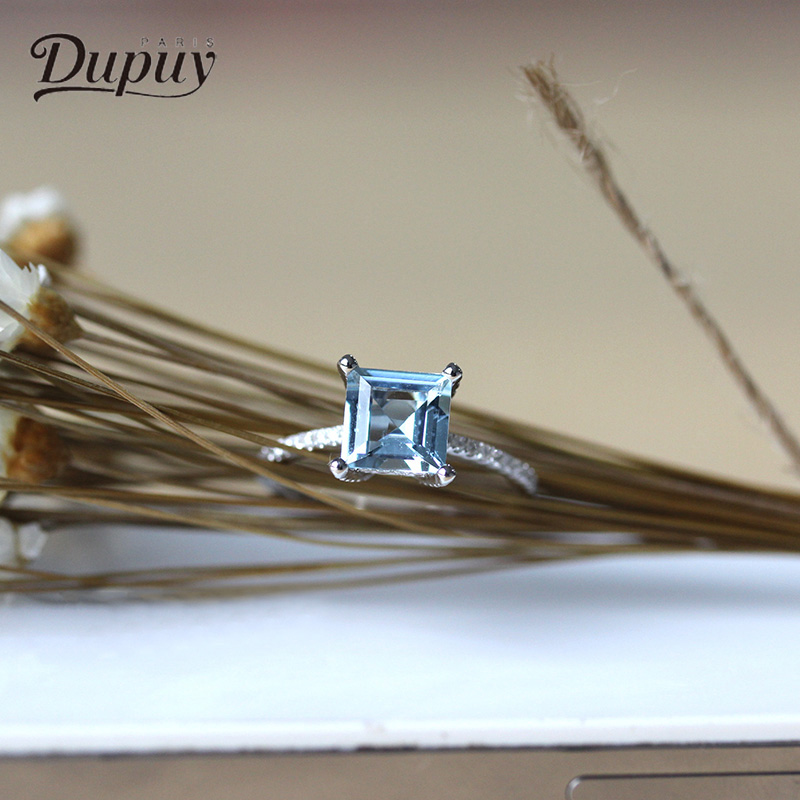 DUPUY Ring 14k White Gold 8mm 1.7ct Princess Cutting Wedding Ring Aquamarine Classic Square Diamond Engagement Ring D180027