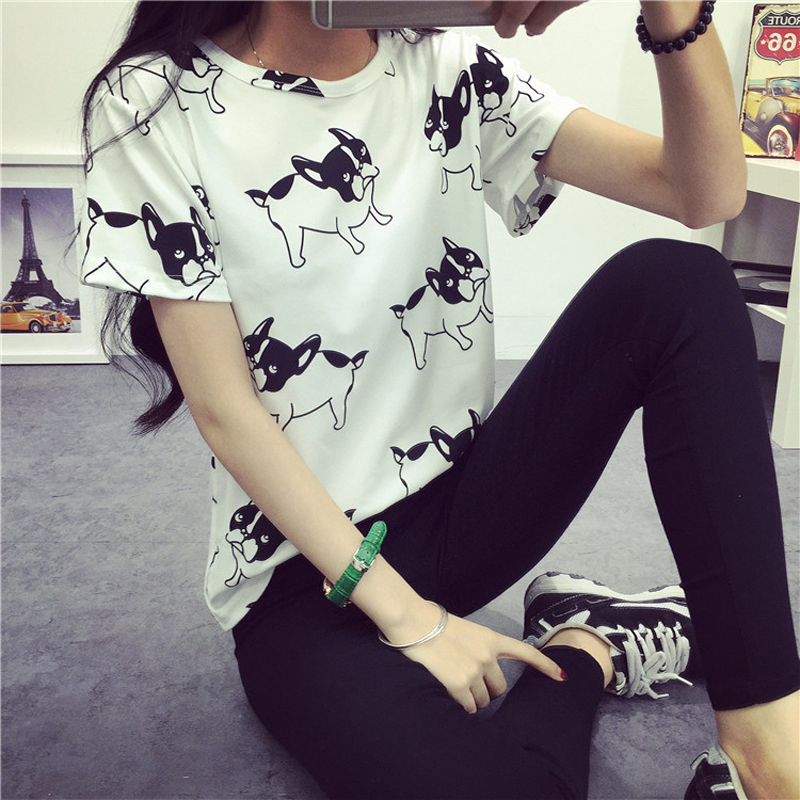 Fashion Summer Women Cartoon O-Neck Hvid Pug Printed Short Sleeve - Dametøj - Foto 5