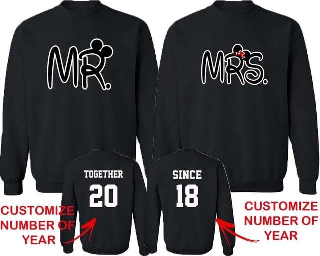 a609c3567 Sudaderas personalizadas para él y sus parejas que combinan con cuello  redondo MR and MRS juntos