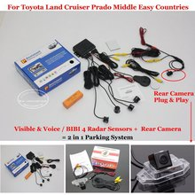 Liislee Car Parking Sensors + Rear View Camera = 2 in 1 Visual / Alarm Parking System For Toyota Land Cruiser Prado Middle Easy