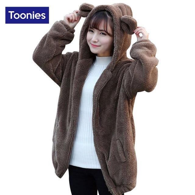 Toonies Kawaii Sudaderas Con Capucha 2016 de Invierno Lindo Orejas de Oso Polar de Peluche de Gran Tamaño Sudadera Con Cremallera Abrigos 3 Colores Outwear Tops
