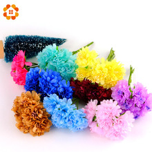 12pcs lot DIY Silk Flower Artificial Stamen Scrapbooking Bouquet Flower for Wedding Party Car Corsage Decoration