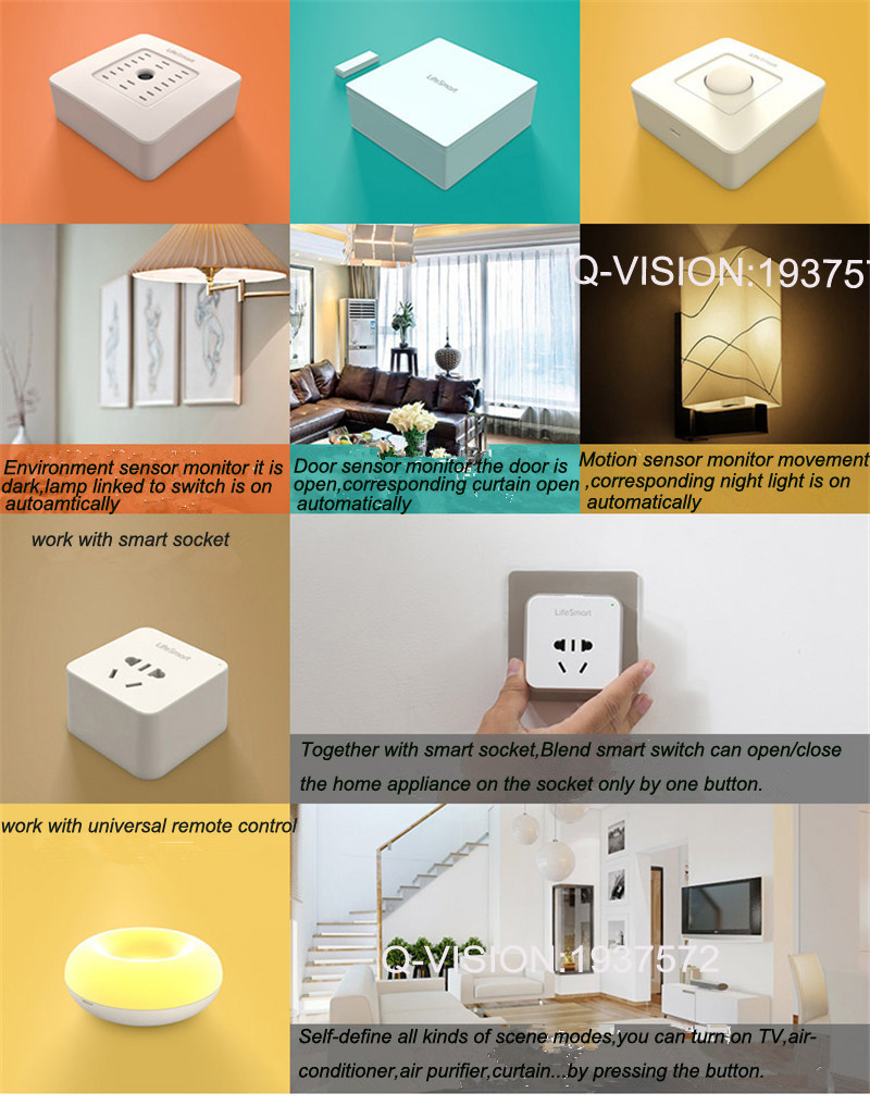 Lifesmart UK Type Blend Streamer Smart Switch Cell Phone APP Remote Control 16 million Color RF433 AC220V Smart Home IOS Android-8