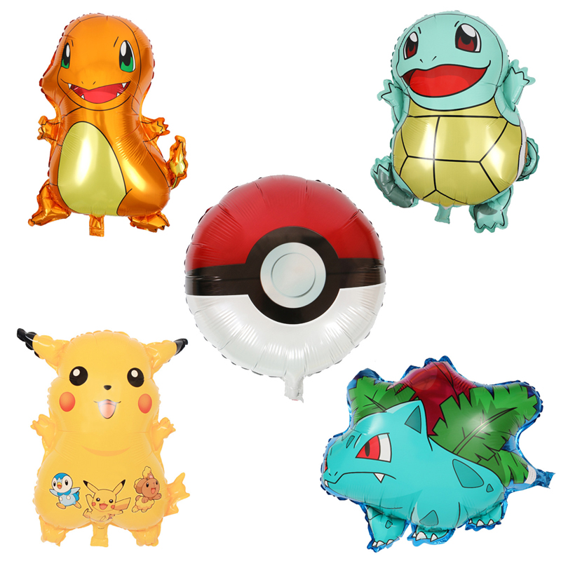 5 Pcs/set Cartoon Pikachu Inflatable Foil Balloon Bulbasaur Squirtle Charmander Wedding Birthday Party Decoration Air Ball Toys