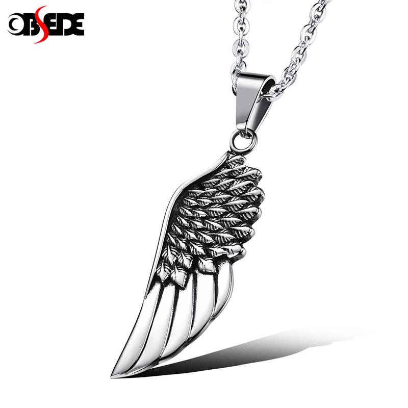 OBSEDE Punk Men Angel Wings Fashion Titanium Steel Sweater Pendant Necklace Male Long Stainless chain Fashion Gift Women