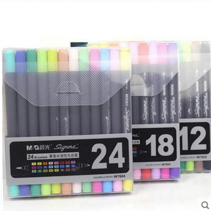 Art and Graphic Drawing Manga Water Based Ink Twin Tip Brush and Fine Tip Sketch Marker Pen 12 18 24 Colors /SET Brush Pen