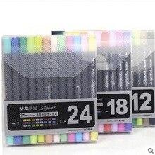 Kunst und Grafik Zeichnung Manga Tinte Auf Wasserbasis Twin Tip Pinsel und feine Spitze Skizze Marker Stift 12 18 24 Farben/SET Pinsel Stift