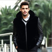 Plus Size Mink Fur Coat Jackets 2019 Winter Warm Outerwear Leather Jacket Faux Fur Coat Casual Black Overcoat With Hood XL661(China)