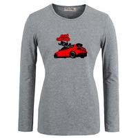 RAFFREDDARE Eat Sleep JDM Red Car Art Pattern Casuali Del Cotone delle magliette Delle Donne Della Ragazza Maniche Lunghe T-Shirt Graphic Tee Top