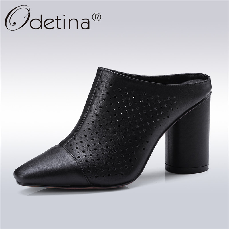 Odetina 2018 New Fashion Women Genuine Leather Shoes Square Toe Mules High Thick Heel Pumps Slip On Strange Heels Casual Shoes slip on men casual shoes male sandal new fashion genuine leather low heel high quality brand korean style thick bottom plus size