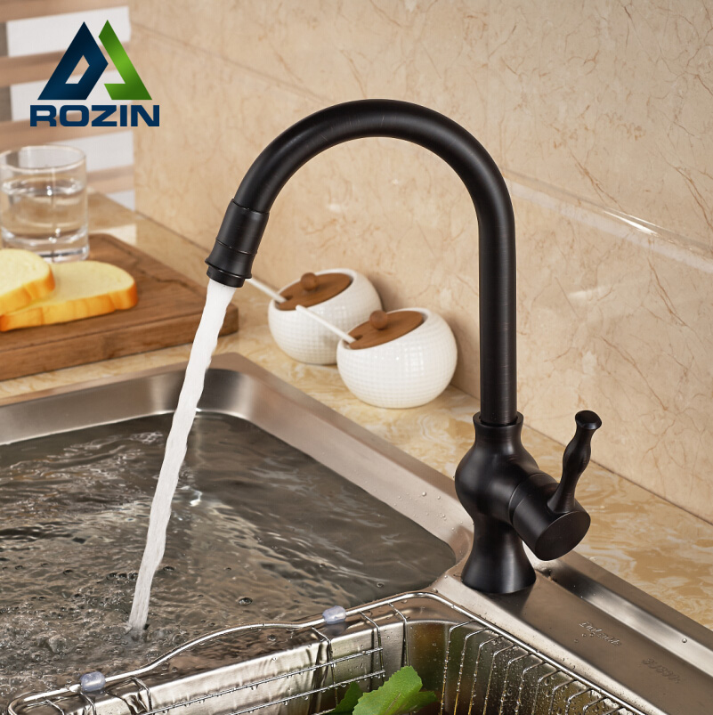 Single Handle Goose Neck Swivel Rotation Kitchen Faucet Single Lever Kitchen Mixer Tap Oil Rubbed Bronze