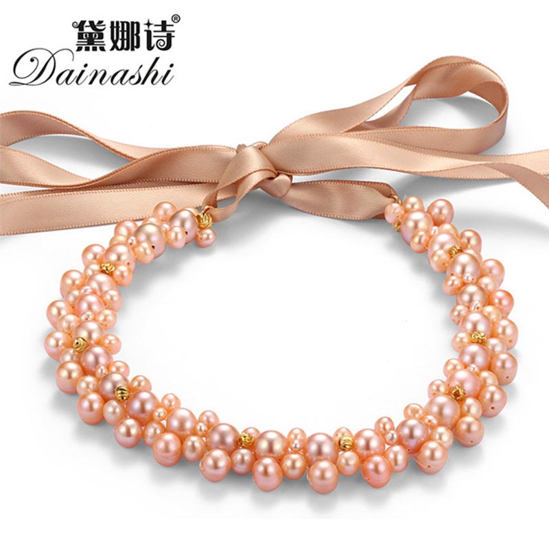 Dainashi 2016 New 100% Real Freshwater Pearl Necklace Top Quality Necklaces & Pendants Fine Jewelry Woman Gift 5 9mm Big Pearl