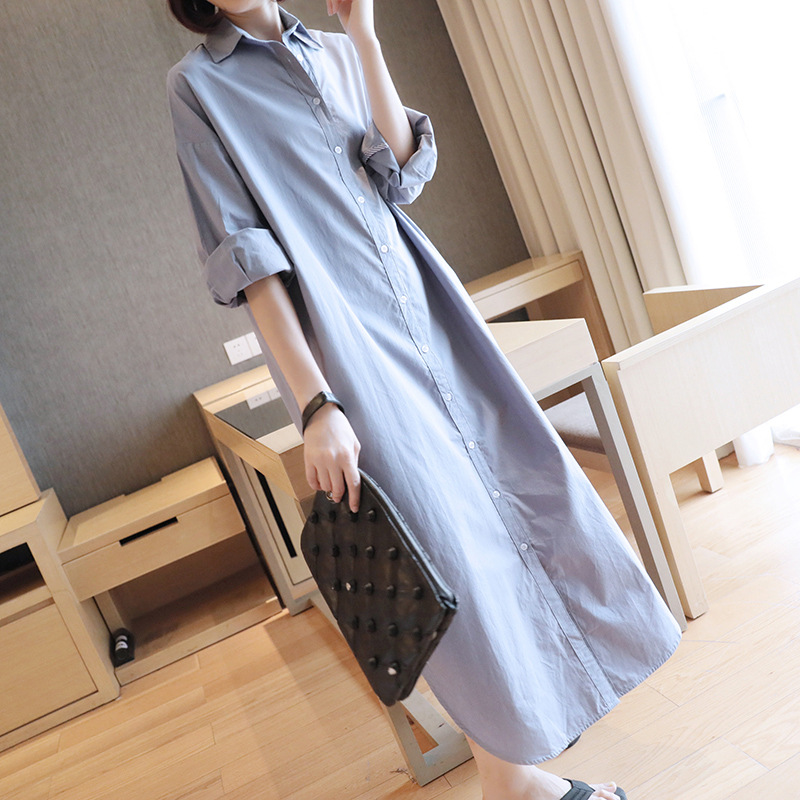 Longue Blouse Chemise de Robe Coréenne 2019 Printemps Nouveau Femmes Long Lâche à manches longues grande taille hauts Blusas Streetwear Moyen -orient