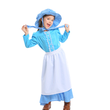 2019 new Halloween blue soft skin-friendly childrens dress British pioneer girl Colonial pioneers girls costumes