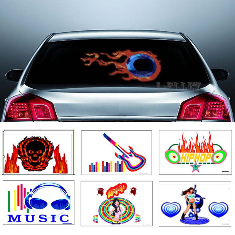 CYAN SOIL BAY Optional LED Flash Sound Activated Equalizer Car Sticker Music Rhythm Light Fire Guitar Dancing Girl Hip Hop купить