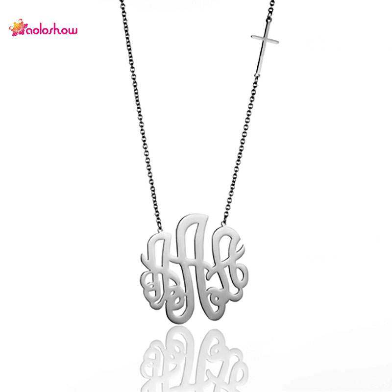 aoloshow 5cm diameter monogram necklace stainless steel 3 initials necklace women sideways cross chain letter necklace