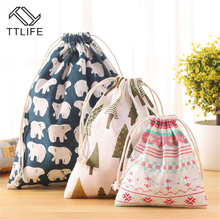TTLIFE Multi-style Portable Drawstring Bags Cotton Travel Storage Clothes Handbag Shoes Women Makeup Bag Organizer Pouch