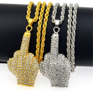 Hip Hop Iced Out Big Hands Pendants Necklace Full Rhinstone Crystal Zircon Rapper Middle Finger Up Hand Shape Jewelry For Men