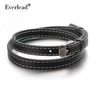 EVERLEAD OL Charm Leather Bracelet Band Double Belt Men Jewelry 14 16in Wrap Genuine Black Bracelets