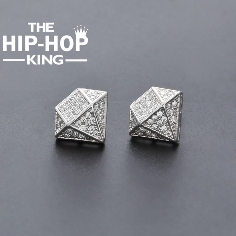 Hip Hop Full Iced Out Cz Simulated Diamonds Earring Silver Color Irregular Copper Earring High Quality Women Accessories