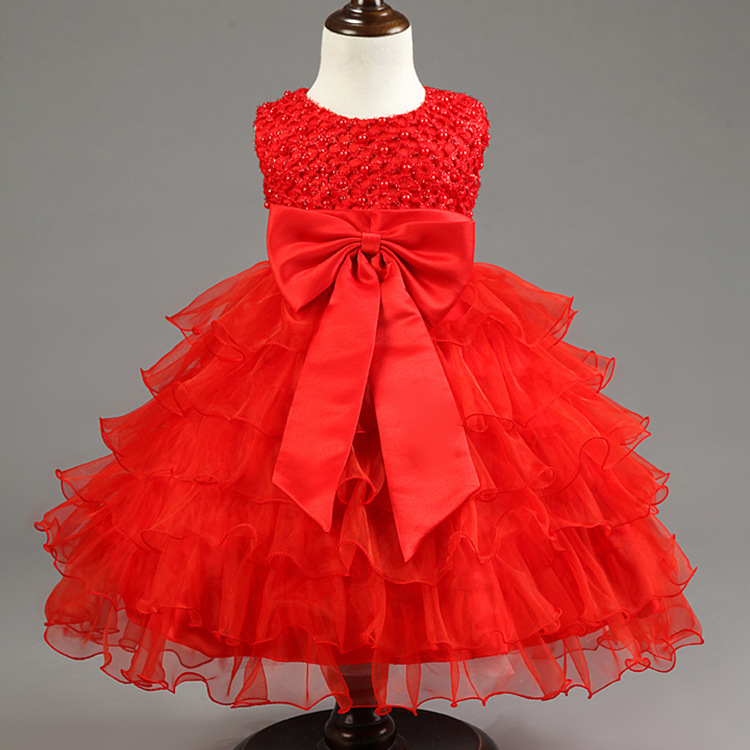fb30e7a838bc7 US $22.47 |2018 Baby Girls European Style Pearls Bow Birthday Party  Princess Dress New Born Kids Tutu Costume Dresses Toddler Clothes T14D-in  Dresses ...