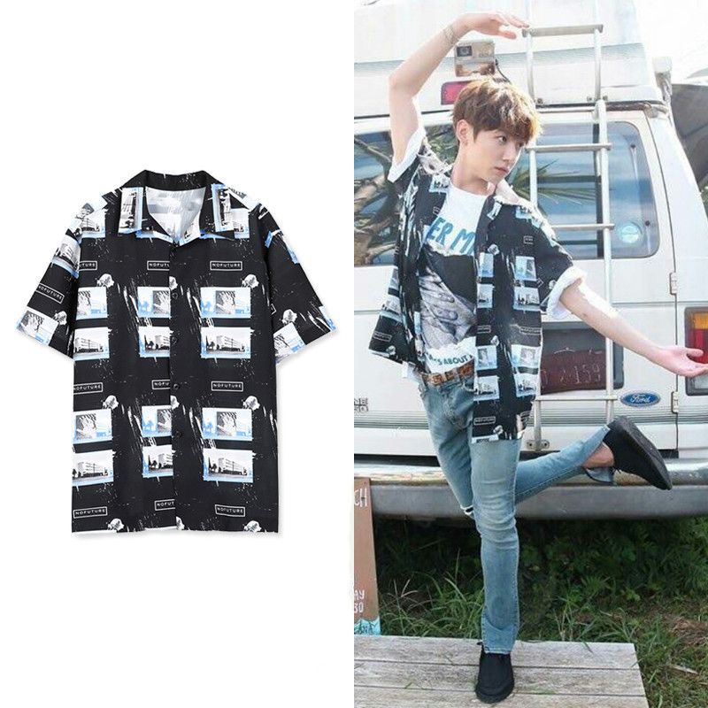 BTS 2018 New Hot Bangtan Boys Jungkook Same Short Shirt Women Street Hipsters Kpop BTS Fashion Leak Collar Shirt Female Clothes