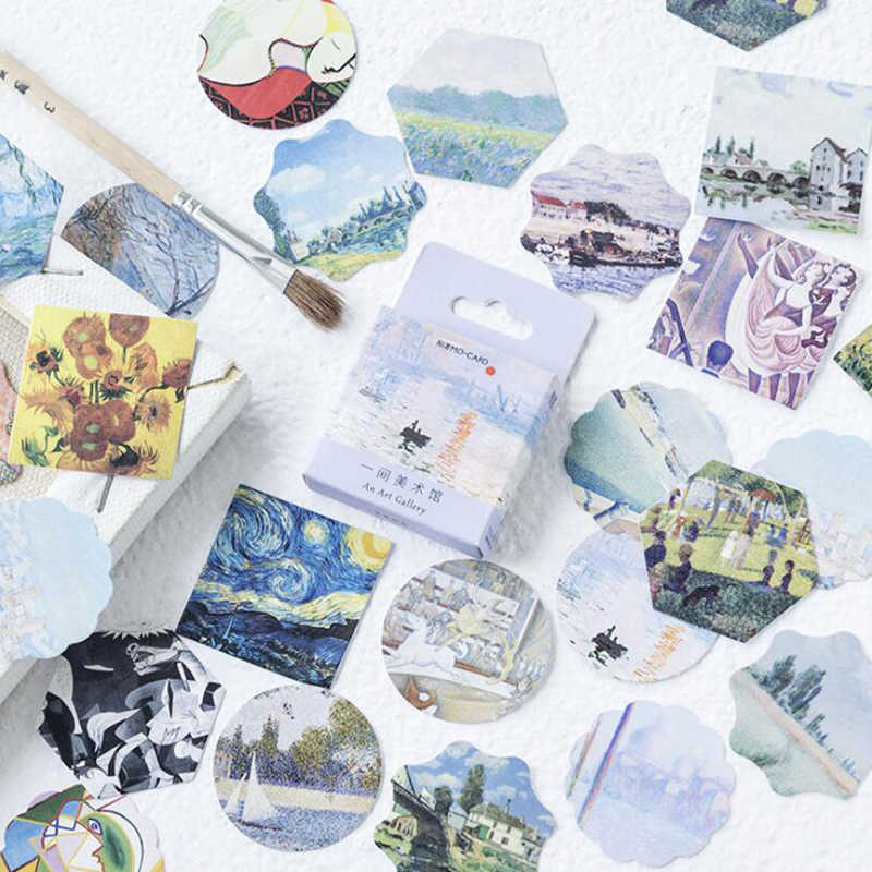 46pcs/box DIY Ablum  Journal Diary Paper Label Stickers Painting Van Gogh Mini Stickers Scrapbooking Flakes School Supply
