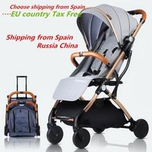 купить Baby Stroller Trolley Car trolley Folding Baby Carriage 2 in 1 Buggy Lightweight Pram Europe Stroller Original Pushchair Plane дешево
